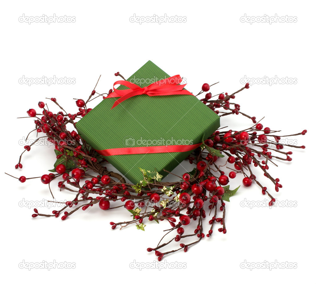 Festive gift box isolated on white background — Stock Photo #7013370
