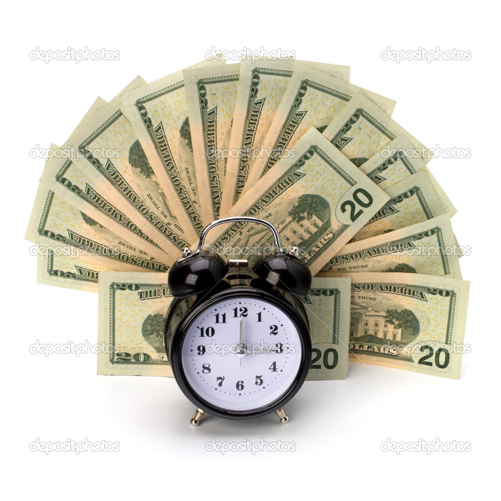 Money accumulation concept. Money and alarm clock isolated on white background. — Stock Photo #7014721