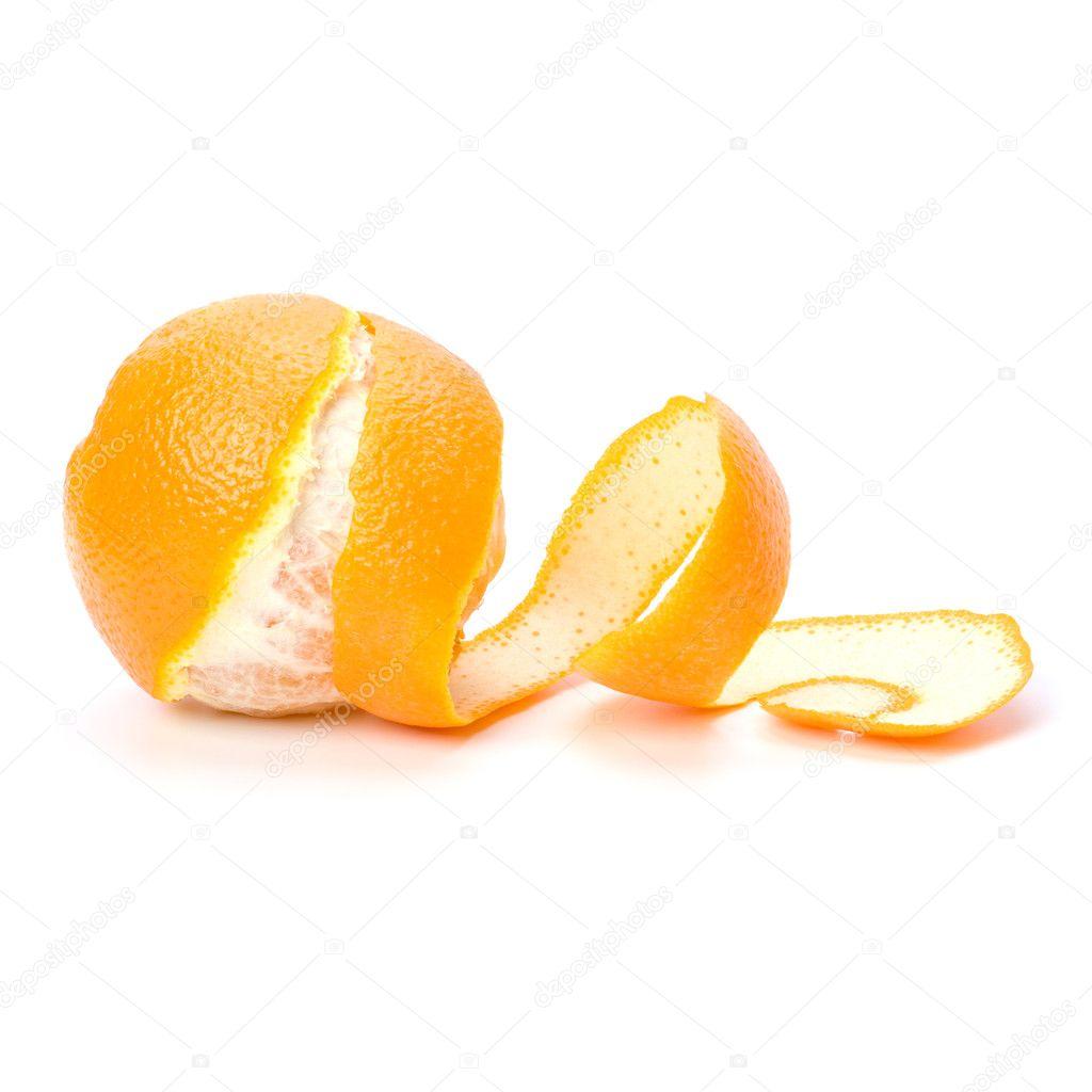 Eating Peel of Orange Orange With Peeled Spiral Skin
