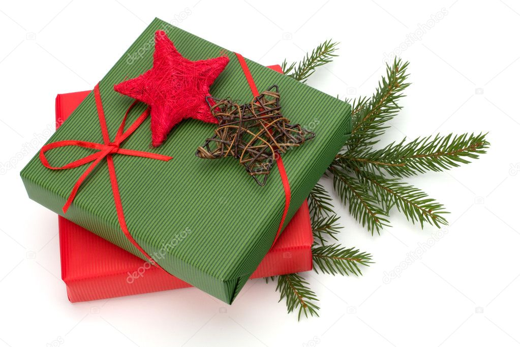 Christmas concept. Ornate gifts isolated on white background. — Stock Photo #7015527