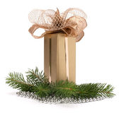 Gold gift box — Stockfoto