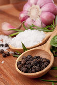 Fresh herbs and salt spoon — Stock Photo