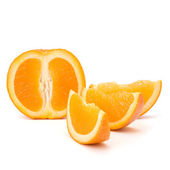 Sliced orange fruit segments isolated on white background — Stock Photo