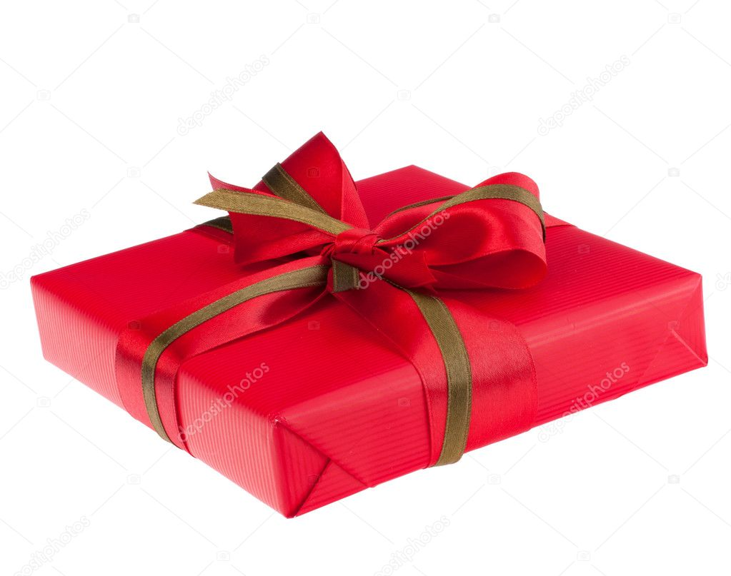 Festive gift box with bow isolated on white background — Stock Photo #7926822