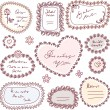 Stock Vector: Cute doodle floral vector frame set