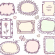 Cute doodle floral vector frame set — Stockvectorbeeld