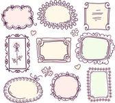 かわいい落書き花のベクトルのフレーム セット — ストックベクタ