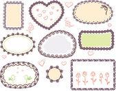 Ensemble de cadre floral vector doodle mignon — Vecteur