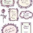 Cute doodle floral vector frame set - Stock Vector