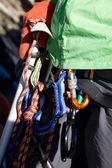 Mountaneer with ice climbing equipment — Stock Photo