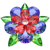 Flower composed of colored gemstones — Stock Photo