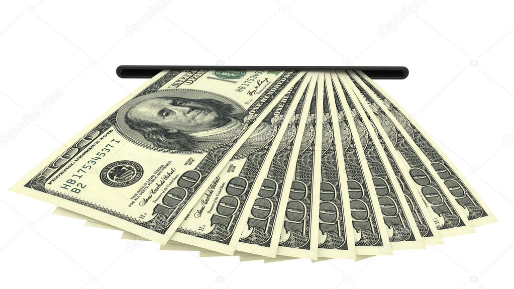 Dollar banknotes in a cash slot isolated on white background. High resolution 3D image — Stock Photo #6982869