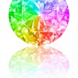 Diamond of rainbow colours on white - Stock Photo