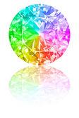 Diamond of rainbow colours on white — Stock Photo