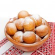 Donuts in an antique bowl — Stock Photo