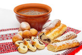 Christmas food in Ukraine - kutya, donuts and poppy cakes — Stock Photo
