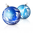 New year blue decorated balls — Stock Vector