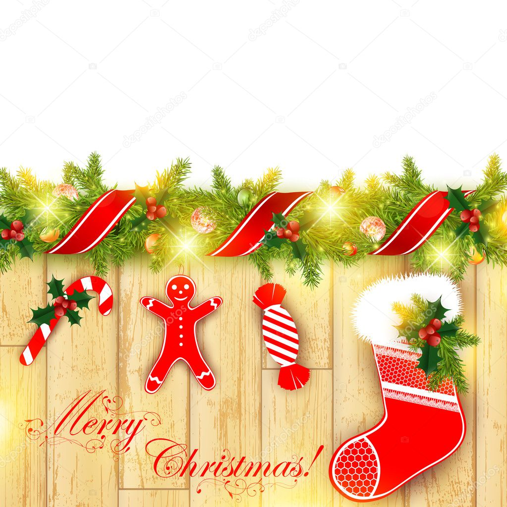Christmas frame with green fir and holiday decoration — 图库矢量图片 #7958921