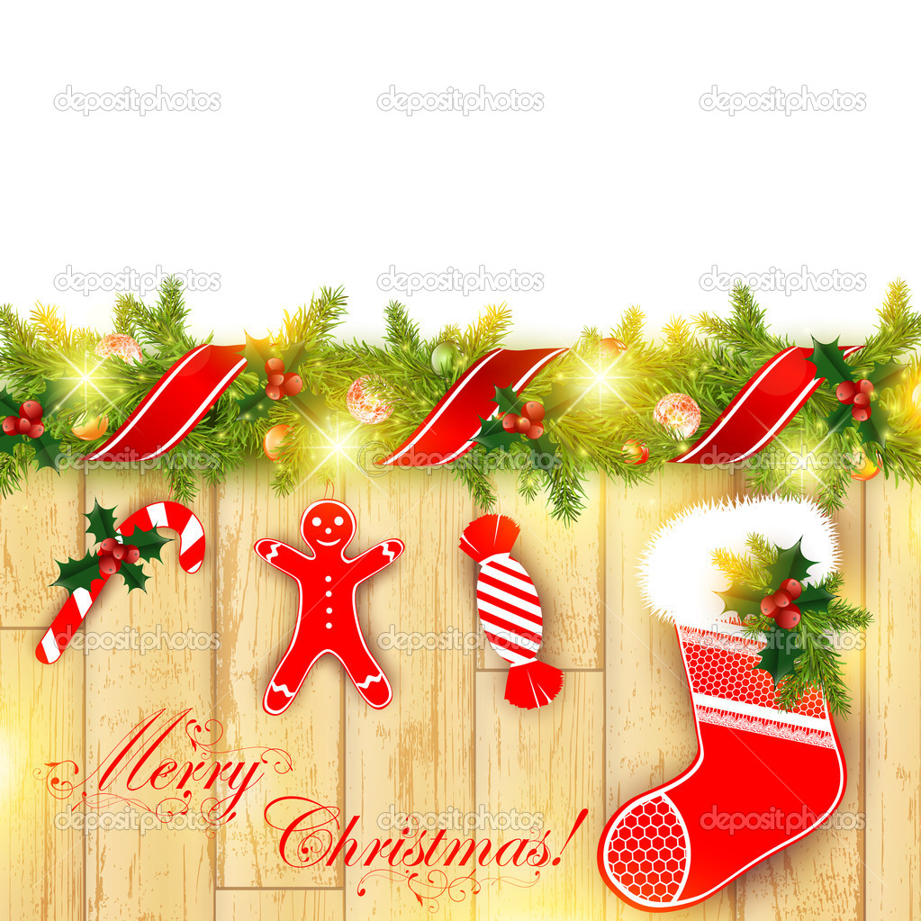Christmas frame with green fir and holiday decoration — Imagen vectorial #7958921