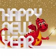 Cute red dragon with a sparkler and holiday greeting from paper letters — Stock Vector