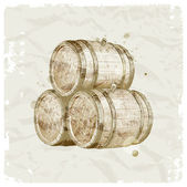 Hand drawn wooden barrels on vintage paper background — Stock Vector