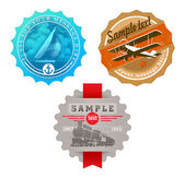 Vintage labels with retro transport — Stock Vector