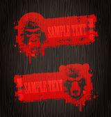 Grunge vector banners with animal heads — Stock Vector