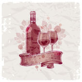 Grunge hand drawn wine bottle & glasses — Stock Vector