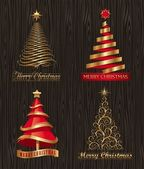 Vector set - golden decorative Christmas trees — Stock Vector