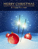 Sparklers and Christmas baubles in snowdrift — 图库矢量图片