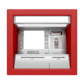 ATM machine isolated on white — Stok fotoğraf
