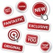 Cool set of vector red stickers — Stock Vector