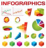 Infografica colorato insieme vettoriale — Vettoriale Stock