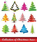 коллекция рождественских елок — Cтоковый вектор