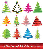 Collection of Christmas trees — Vector de stock