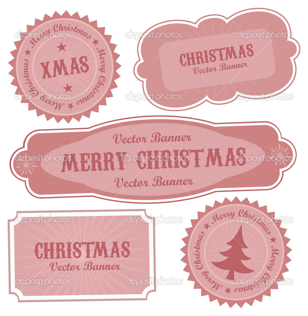 Christmas Vector Retro Design Labels for your artwork.  Stock Vector #7264940