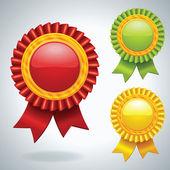 Collezione di tre medaglie di vettore — Vettoriale Stock