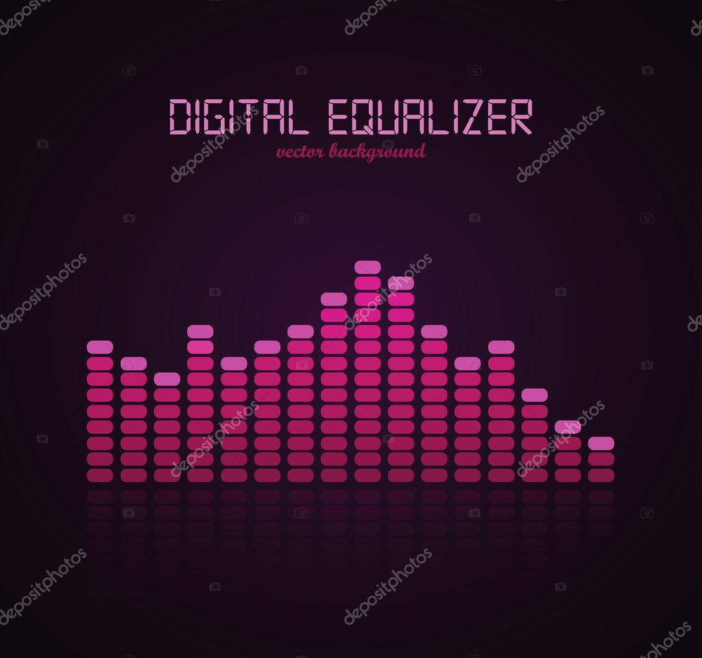 Graphic Equalizer Display. Vector illustration for your artwork. — Imagen vectorial #7447673