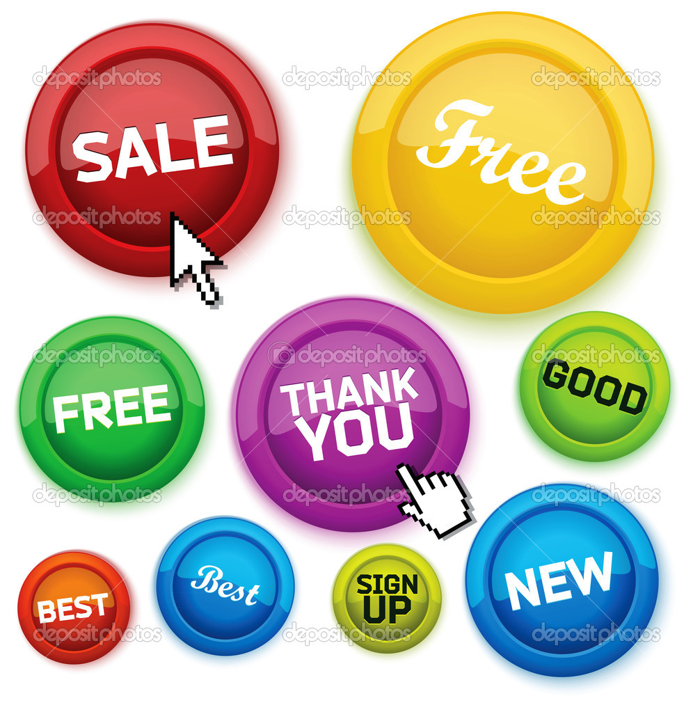 Cool glossy buttons for your business website. Vector illustration. — Stock Vector #7515010