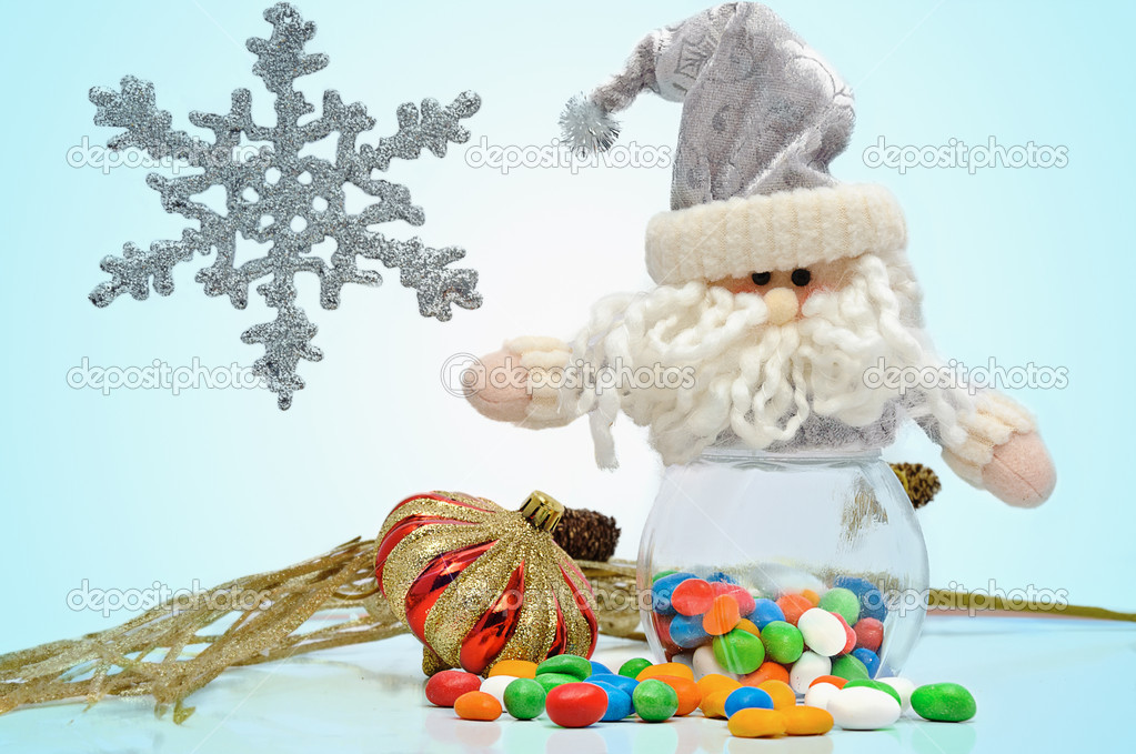 Christmas candy and santa isolated on a white background  Stock Photo #6868242