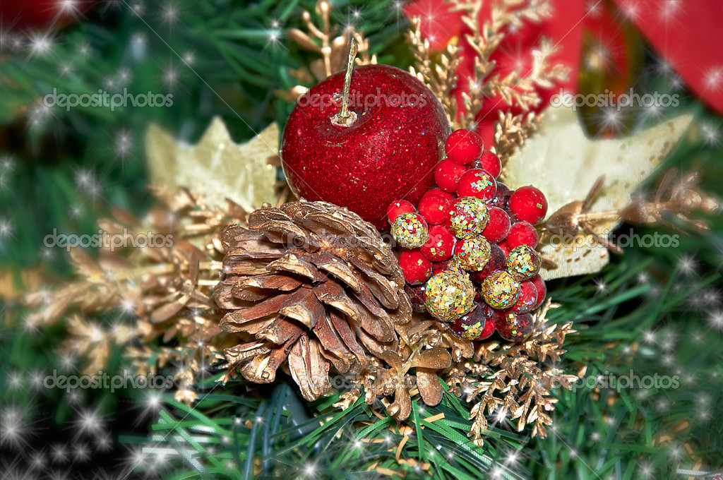 The christmas ornament with the christmas tree — Stock Photo #6868282