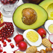 Stock Photo: Pome Granate, avocado, egg, radish, nut, tomatoes
