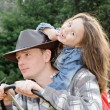 Portrait of father with little daughter outdoor in summer park — Stock Photo