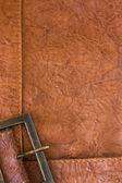 Fondo con textura de cuero y el marco — Foto de Stock