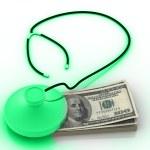 Stethoscope and dollar — Stock Photo