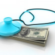 Stock Photo: Stethoscope and dollar