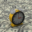 Time is money concept with clock and coins — Foto Stock
