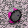 Time is money concept with clock and coins — Zdjęcie stockowe #7813556