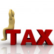 Taxpayer ruined bankrupt by high taxes sits in the word TAX — Stockfoto