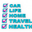 Stok fotoğraf: Health Insurance, Travel Insurance, Home Insurance, Life Insurance